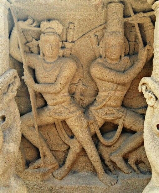"""Fight between Lord Shiva and Arjun."" Kailashnath Temple, Pallava Dynasty. 7th Century CE. Kanchipuram, Tamil Nadu, India,"