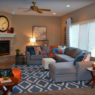 Gray Orange Blue Family Room Design, -- basement decor
