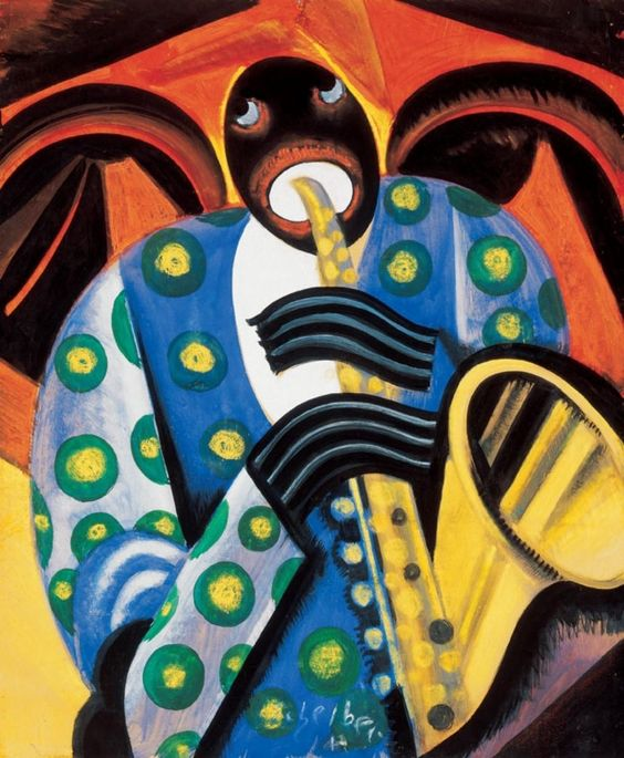 Saxophone Player by Hugo Scheiber (Hungarian 1873-1950)....Scheiber lived in Germany from 1922-1934....