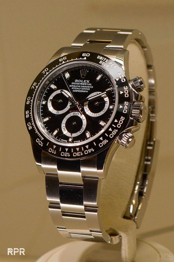 New Rolex Cosmograph Daytona Watch With Black Ceramic Bezel. Black Dial. March 2016 Baselworld.