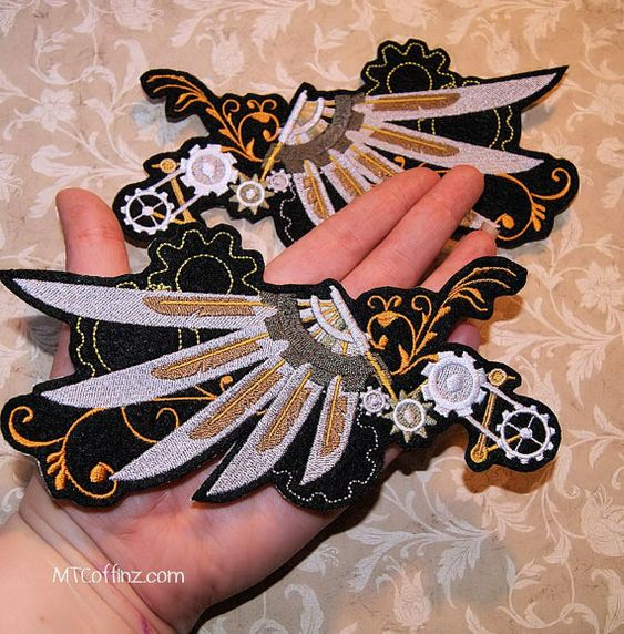 SteamPunk Angel Gear Wings Iron On Embroidery Patch by MTthreadz