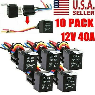 Ad Ebay Url 10 Pack 12v 30 40 Amp 5 Pin Spdt Automotive Relay W Wires Harness Socket Set In 2020 Relay Socket Set Sockets