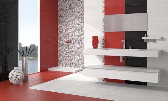 Combinaci n de azulejos en blanco rojo y negro para ba o - Azulejos para banos ...