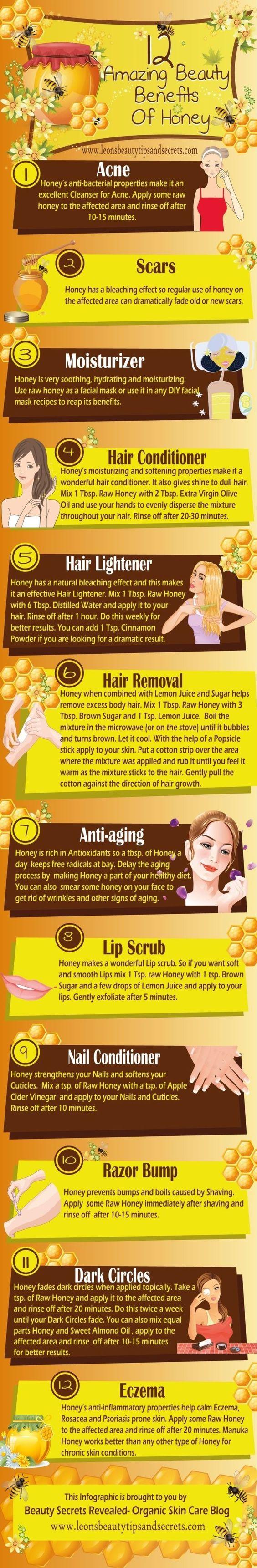12 Beauty Benefits of Honey diy honey easy diy remedies home remedies acne remedies beauty remedy skin treatment hair treatments