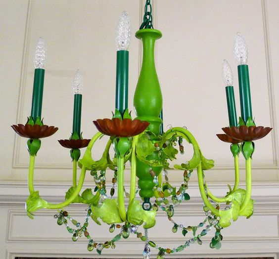 The Mystical Green Chandelier on Etsy, $500.00.... maybe for my chandelier... my tack gold one... DIY :3