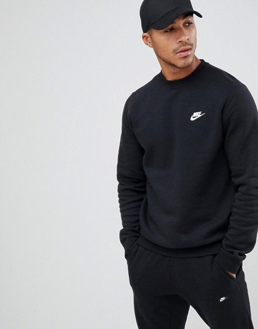 Nike | Nike Club Crewneck Sweatshirt In Black | Crewneck ...