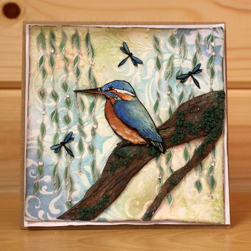 CS134D 'Kingfishers' Clear set contains 15 stamps. Designed by Sharon Bennett for Hobby Art. This set was designed to be used alongside CS128D Riverside. Card made by Sally Dodger: