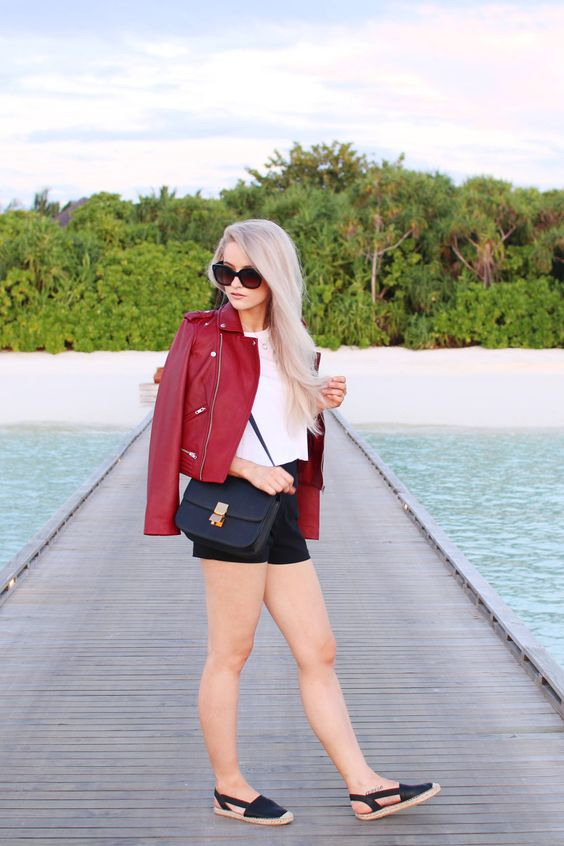 I love this outfit! Styling a beautiful lambskin cherry jacket from Maje in the Maldives Kihavah