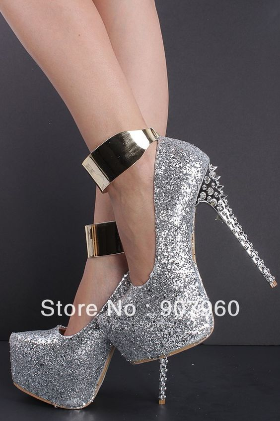 new 2014 fashion latest silver rivet high heels gold strap