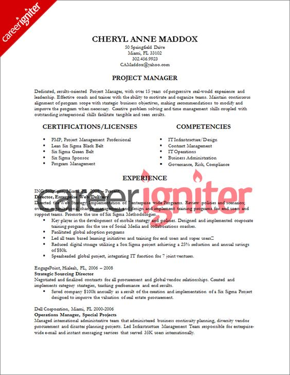 Project Manager Resume Sample Resume Pinterest Project - show resume samples