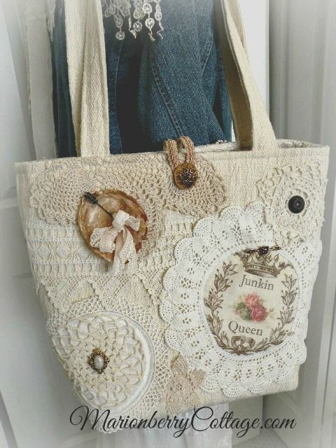 Vintage crochet and lace jumbo tote purse:
