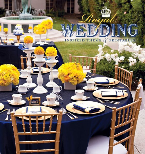 Heavenly Blooms: Royal Wedding Bridal Shower - Yellow and Blue Wedding Inspiration
