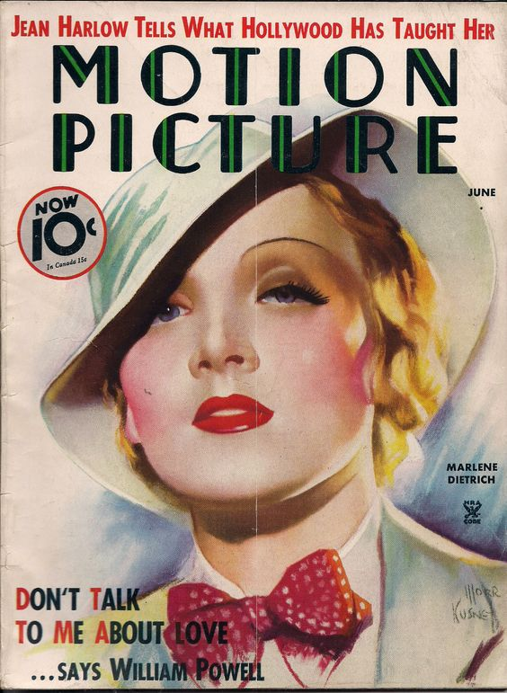 """Marlene Dietrich on the cover of """"Motion Picture"""" (1935)"""