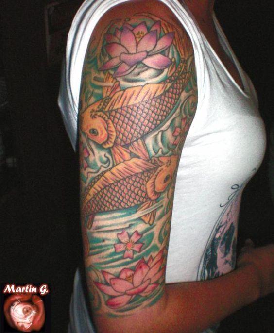 koi fish half sleeve asian tattoos pinterest farben halblange rmel und rmel. Black Bedroom Furniture Sets. Home Design Ideas