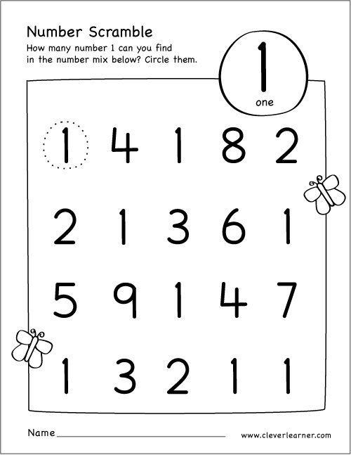 Find The Number 1 Worksheet In 2020 Numbers Preschool Number Activities Preschool Preschool Number Worksheets