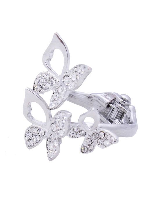 Stone Butterfly Hinge Ring - VR0047-SILVER
