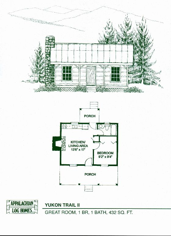 Tiny House Floor Plans Awesome Yukon Trail Ii 1 Bed 1 Bath 1 Story 432 Sq Ft In 2020 1 Bedroom House Plans Cabin Floor Plans House Blueprints
