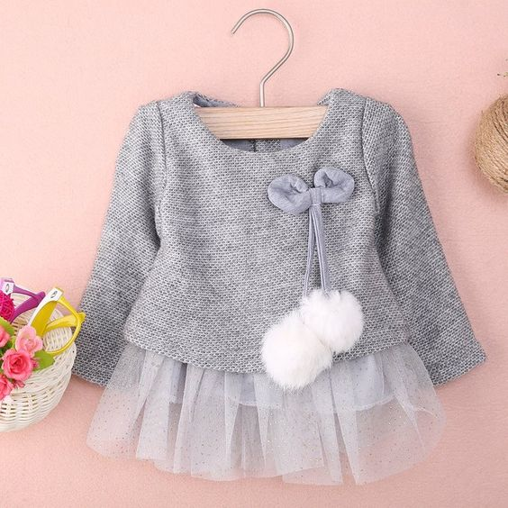 Baby Girl Style // Baby Girls Long Sleeve Knit Bow Tutu Princess Party Dress Clothes //Get the full description here http://amzn.to/2cWrra8 //affiliate// Baby Girl Outfit Ideas // Baby Girl Clothes // Gray Tutu // My baby girl needs this cute outfit!