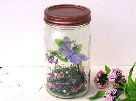Woodland Mason Jar Centerpiece Butterfly  Flowers Vignette Fantasy Jar  Lavender Pink