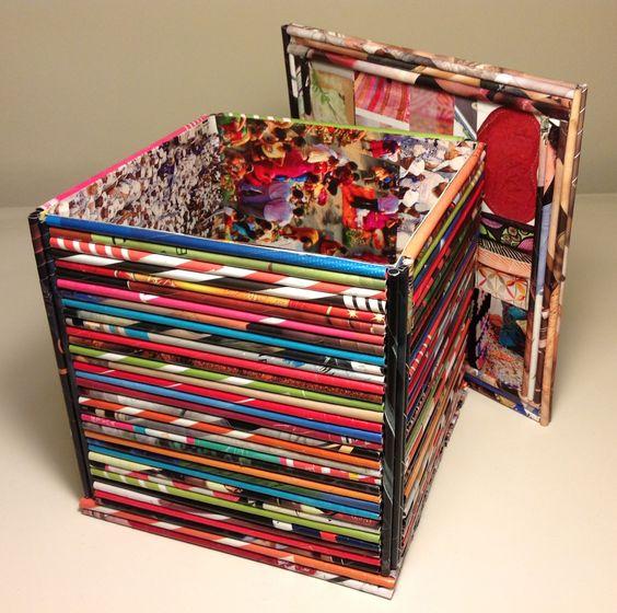 Caja multiuso con tapa hecha con papel de revistas - Manualidades con cajas ...