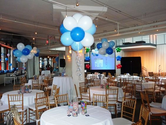 Floating table clusters gumball balloon centerpieces