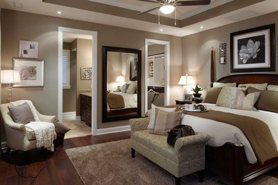 Master bedroom: I like the large mirrrors on one wall. Great idea!: