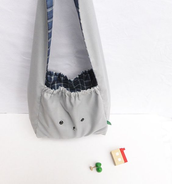 Grey and navy Japanese style bunny rabbit handmade bag by MushyP