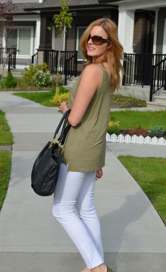 Bree | Olives, Green Shirt and White Denim