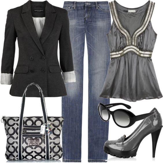 Black twill blazer + silky top + jeans