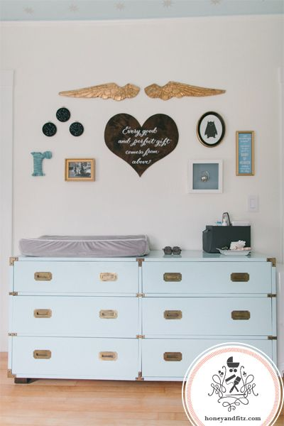 Create a gallery wall with sentimental items - we especially love these angel wings! #nurserydecor
