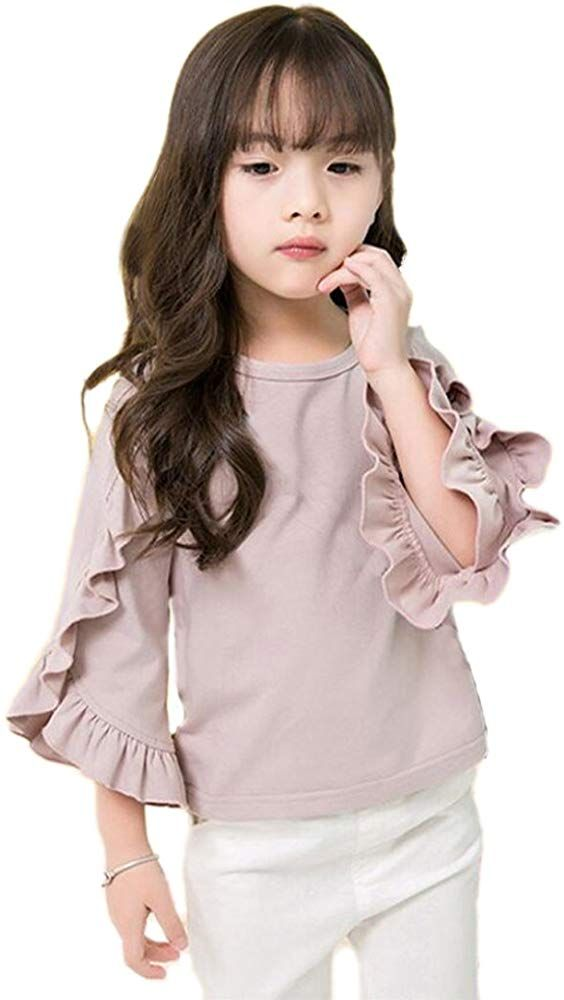 Colorful Childhood Little Girls Ruffle Bat T Shirt Autumn Princess Girl Blouses Spring Tops