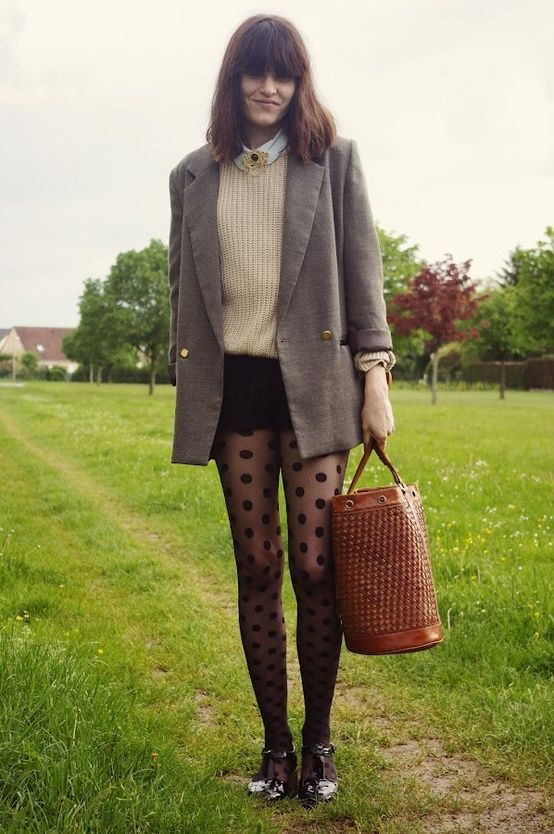 polka dot tights outfit | Style | Pinterest | Polka dots ...