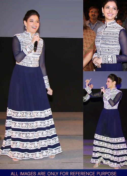 Tamanna Bhatiya Blue Net Long Gown  Designer Gown  Pinterest ...