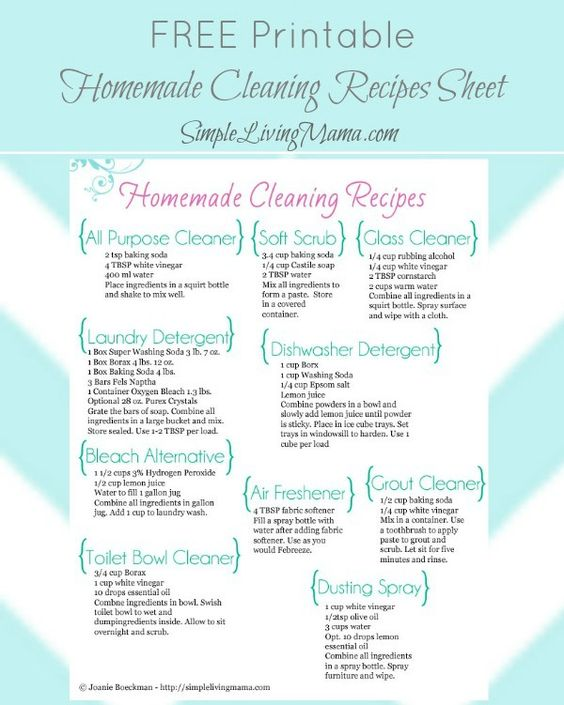 FREE Printable Homemade Cleaners Cheat Sheet – Life Simplified