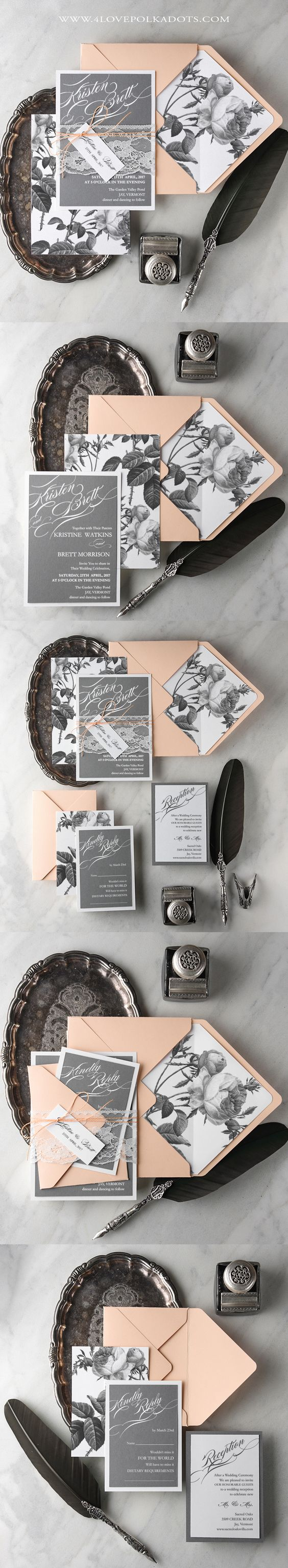 Peach & Grey Peonie Wedding Invitations #weddinginvitations #flowers #botanical