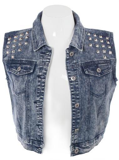 Plus Size Acid Wash Studded Denim Vest, Plus Size Clothing, Club Wear, Dresses, Tops, Sexy Trendy Plus Size Women Clothes