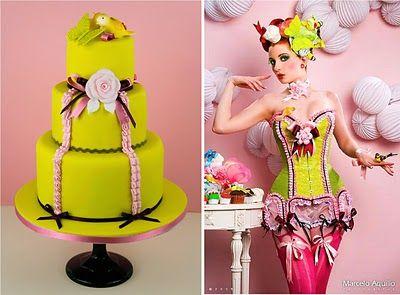 El diseño de esta tarta está inspirado en el modelo Cherry Blue de la colección Cake Corsets.