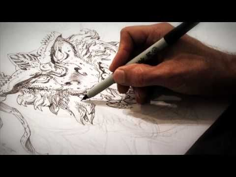 ▶ Time-lapse Ink drawing of monster on playmat by fantasy artist Jeff Miracola - YouTube