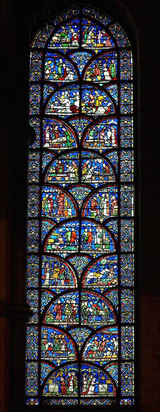 Stained glass window at Canterbury Cathedral, Kent, England.