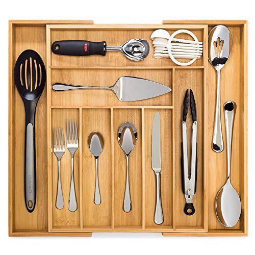 Artisware Bamboo Organizador Del Cajón Extensible Cubiertos Y Bandeja Utensilio 7 Compar Organización De Pequeñas Cocinas Cajones Cocina Separadores De Cajón