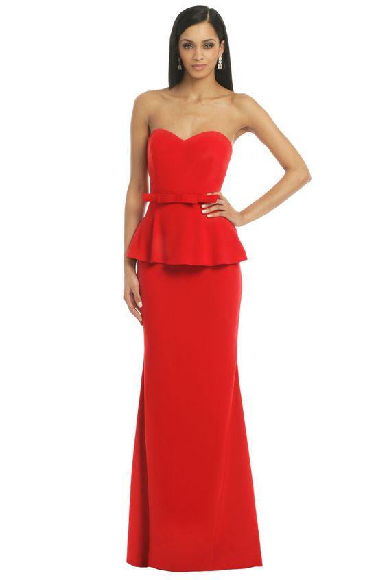 Badgley Mischka Rouge Rosalind Peplum Gown