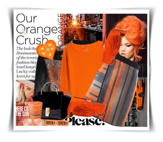 """Our orange crush"" by no-where-girl ❤ liked on Polyvore featuring Jean-Paul Gaultier, Helmut Lang, 81hours, MSGM, Christian Louboutin and Ray-Ban"