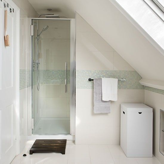 Best Photo Gallery Websites Attic shower room with mosaic tile stripe Shower room ideas Bathroom PHOTO GALLERY