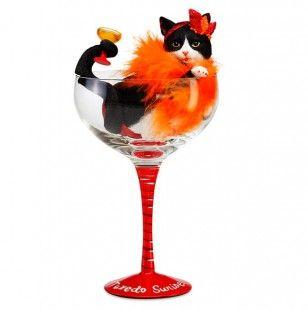 Tuxedo Sunrise Black N White Cat in Glass