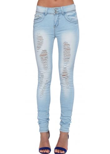 Designer Desirables Ice Blue High Waisted Stretch Fit Creased ...
