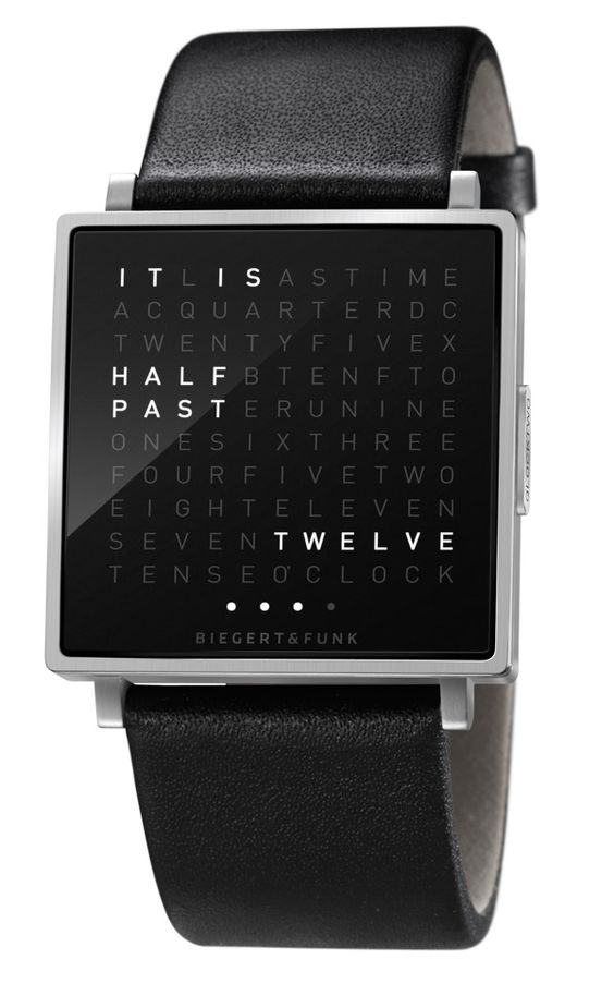 """The """"QLOCKTWO W"""" watch prefers to tell time in words and phrases rather than numbers."""