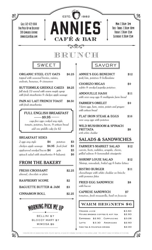 Art of the Menu Annieu0027s Café \ Bar menus Pinterest Cafe bar - free downloadable restaurant menu templates
