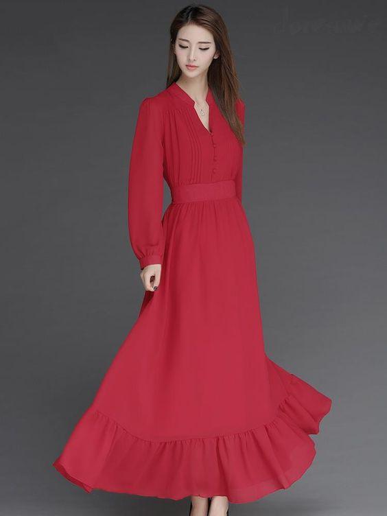 Doresuwe.com SUPPLIES おしゃれ 綺麗目ファッション無地マキシワンピース 新作ドレス (6)