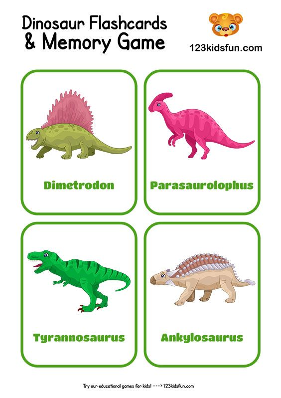 Free Printable Dinosaur Flashcards And Memory Game For Kids 123 Kids Fun Apps Dinosaur Crafts Kids Printable Flash Cards Flashcards Preschool dinosaur activities free