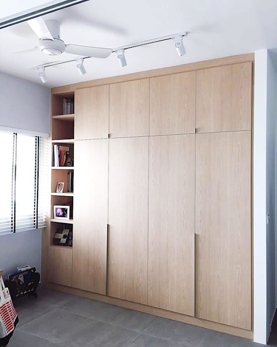Full Height Wardrobe With Open Cabinet Scandinavian Dressing Room By Singapore Carpentry Pte L In 2020 Small Dressing Rooms Wardrobe Room Scandinavian Interior Bedroom